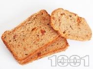 Рецепта Средиземноморски пълнозърнест хляб с бяло и ръжено брашно, сирене и маслини за хлебопекарна (със суха мая)
